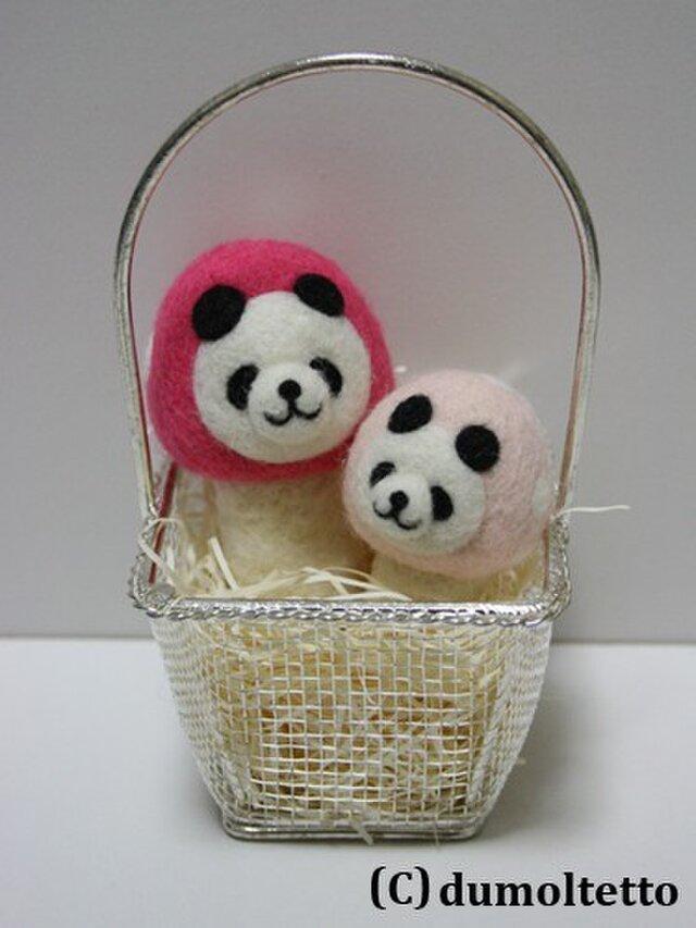 羊毛フェルトキノコパンダのマスコット兄弟セット(ピンク)の画像1枚目
