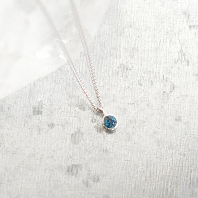 《受注製作》London Blue topaz necklaceの画像1枚目
