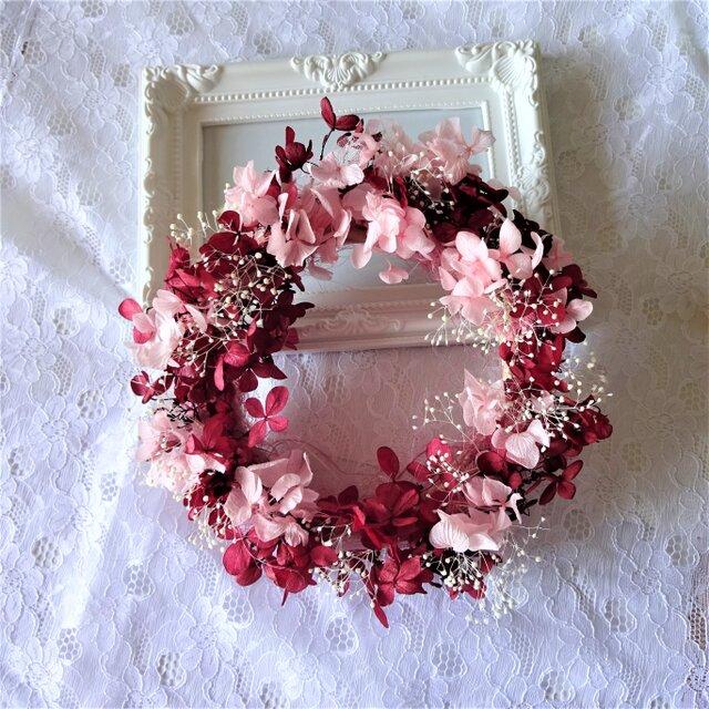 オータムリース カシス&ピンクのリースの画像1枚目