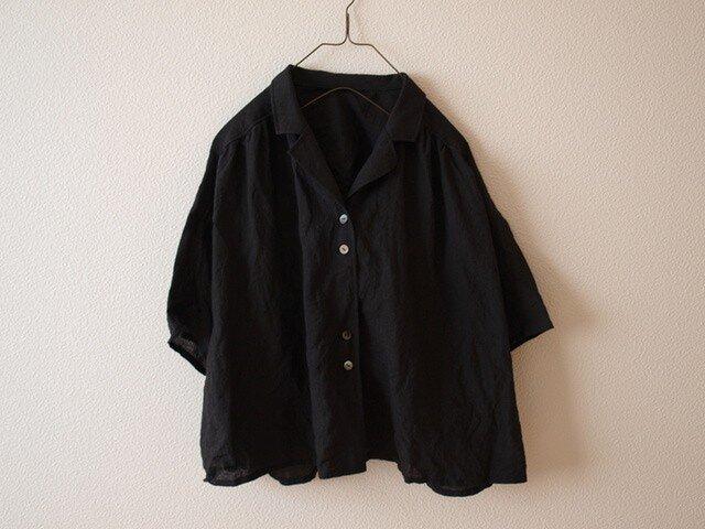 LINEN 開衿シャツ *ブラック* size FREEの画像1枚目