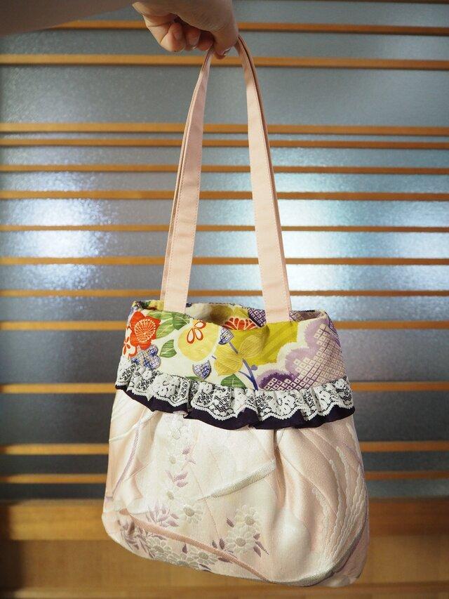 帯と着物の生地で作ったバッグの画像1枚目