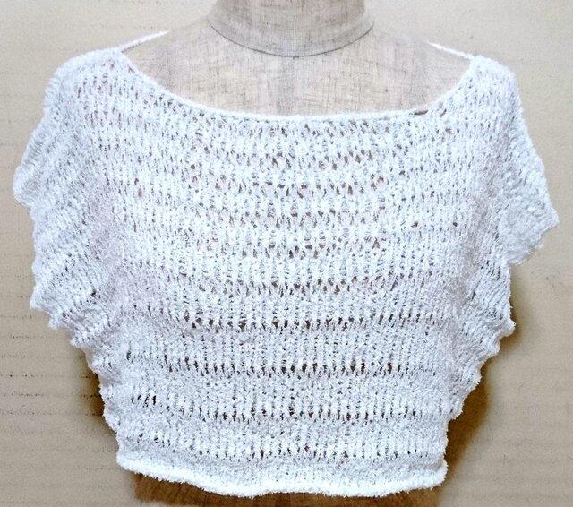 変わり糸で編んだノースリーブセーターの画像1枚目