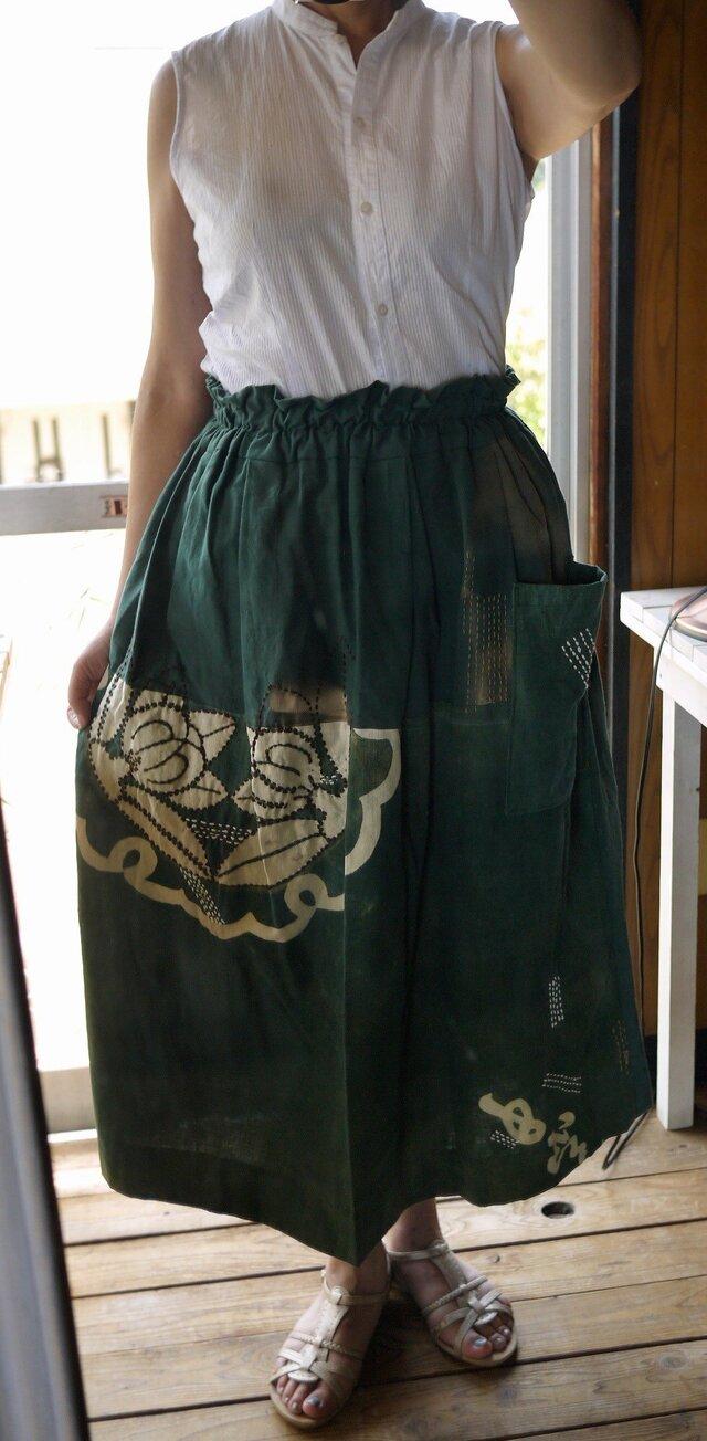筒がき古布たっぷりのスカートの画像1枚目
