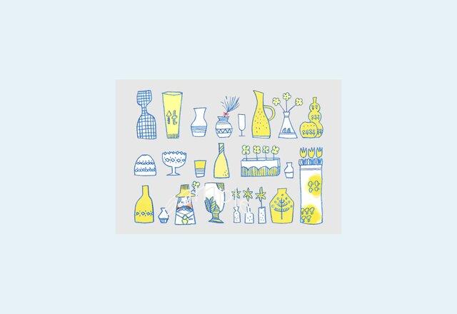 [A¥480] ポストカード¥3枚set :006番 「花瓶」の画像1枚目