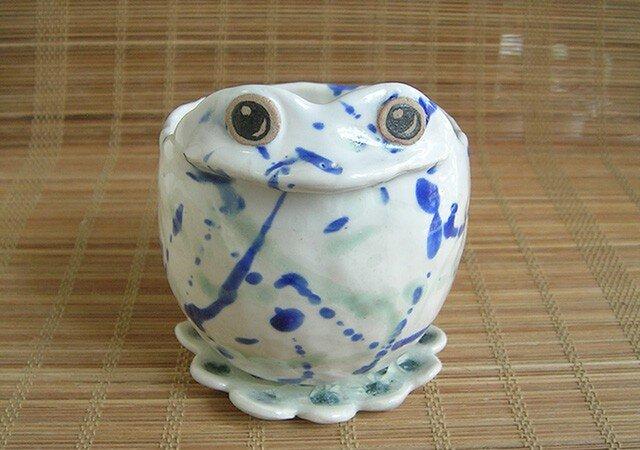 カエル植木鉢 青白の画像1枚目