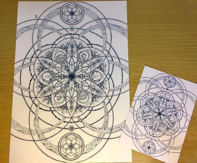 曼荼羅屋オリジナルプリント「六円の曼荼羅」B4サイズの画像1枚目