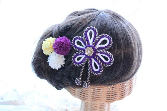 花の組紐飾り 選べるマム3個セット 成人式 卒業式 結婚式 七五三 浴衣の画像1枚目