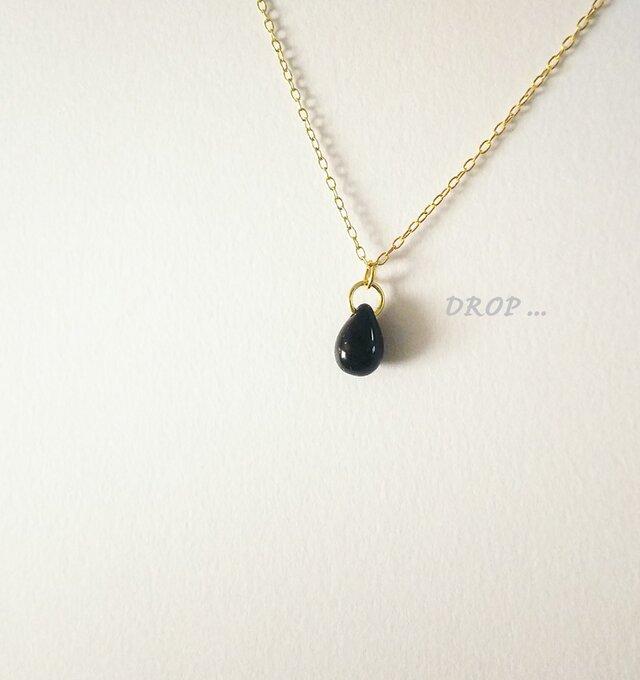 d7-116【ブラック】しずくドロップのシンプルネックレスの画像1枚目