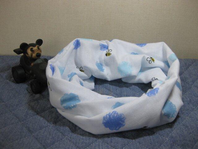 ダブルガーゼスヌード・ミツバチ柄*ブルー(一重)の画像1枚目