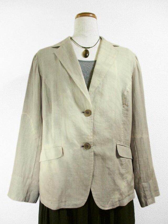 麻のサマージャケット(斜め絞り染・ベージュグレー色濃淡)の画像1枚目