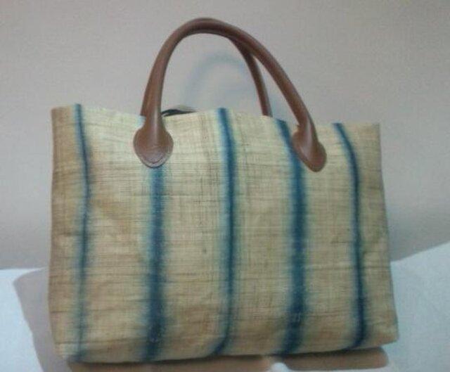 麻 藍染めバッグの画像1枚目