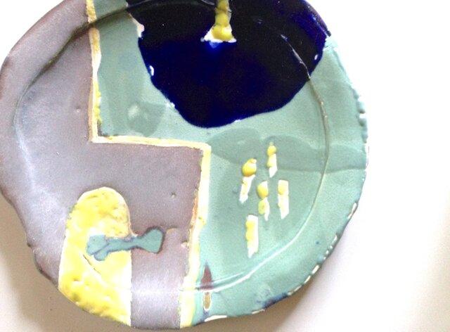 黄色い雨 25cmディナープレート02の画像1枚目