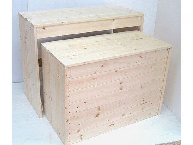 木製ディスプレイテーブル_2個セット_幅100cm×奥行45cm×高さ80cm_無塗装_UN811Nの画像1枚目