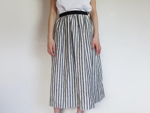 リネンストライプ裏地付きスカートの画像1枚目