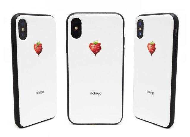 《iIchigo》チョコ いちご ハート  iPhoneX / iPhone10 レザーケースフルカバー(オフホワイト)の画像1枚目