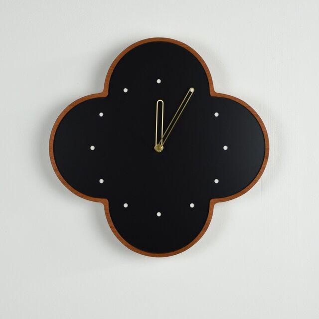マホガニーの壁掛け時計 大 黒 φ300mmの画像1枚目