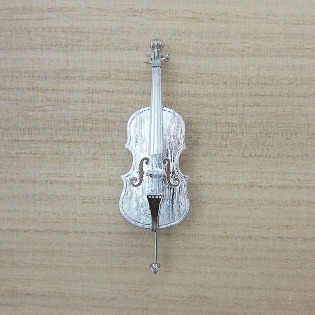 【再販】楽器 チェロ ダイヤ ブローチの画像1枚目