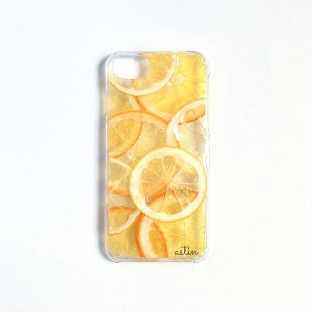 レモン&オレンジの押し花スマホケースの画像1枚目