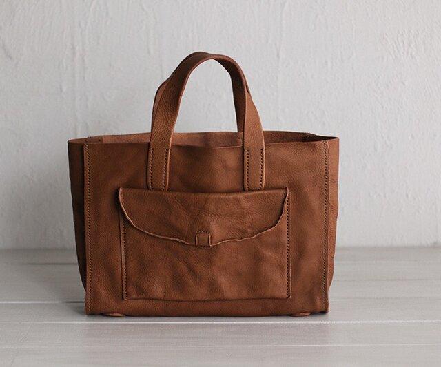 手縫い仕上げ 本革 トートバッグ (ブラウン)の画像1枚目