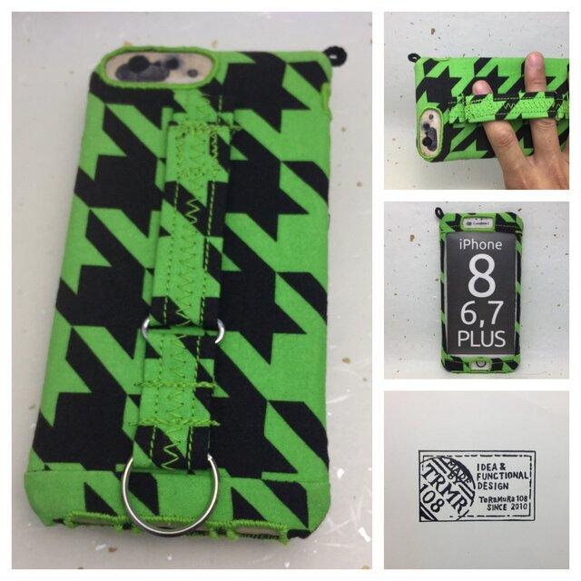 布のiPhoneジャケット8Plus,7Plus,6Plus用 千鳥格子黒と黄緑 訳あり処分品の画像1枚目