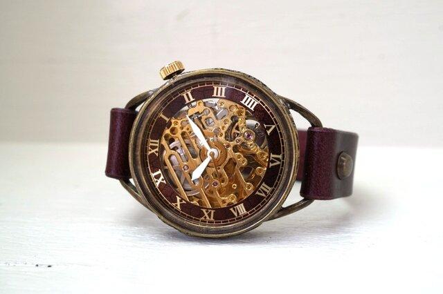 メカニックゴールド AT ワインブラウン 真鍮 手作り腕時計の画像1枚目