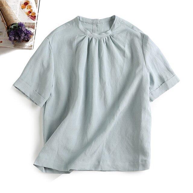 f8080901 綺麗な色 シルクと麻の生地 最高な気心地 半袖 後ろボタン ブラウスの画像1枚目