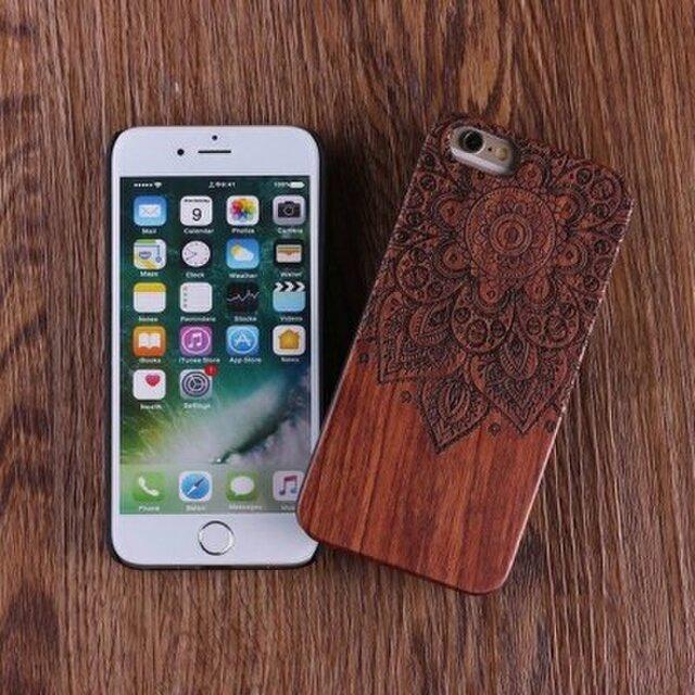 送料無料 iPhoneケース 木製ケース 天然木 木目調 ウッドケース 無垢材 高級 大人の画像1枚目