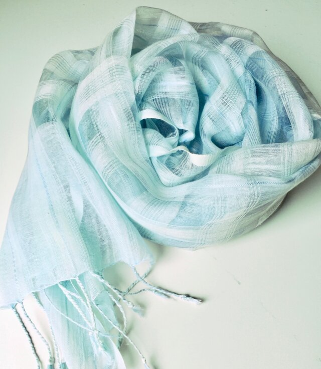 藍染シルク/綿小チェックストール(浅葱色)の画像1枚目