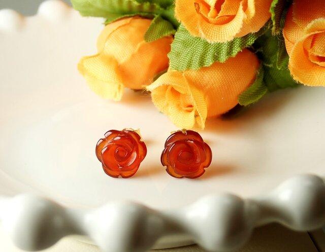 *P115*天然石レッドアゲートAAA(薔薇)☆スタッドピアス(濃)の画像1枚目