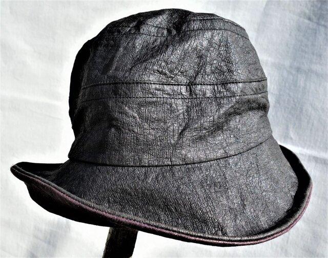 機能性和紙ダウン黒&紫帽子の画像1枚目