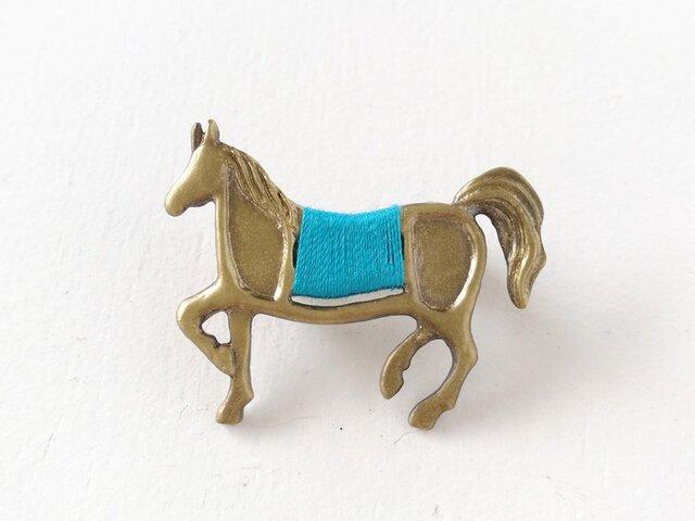 馬ブローチ(ライトブルー)の画像1枚目