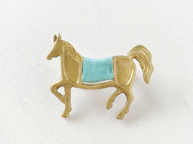 馬ブローチ(緑)の画像1枚目