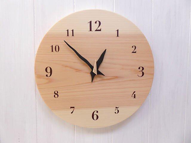 ヒノキの時計 30センチ 105s 文字盤茶色の画像1枚目