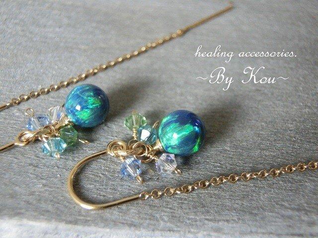 ~✶揺らめく誘惑の瑠璃色✶~Kyoto Opal ピアス。の画像1枚目