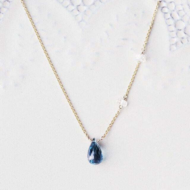 大粒ロンドンブルートパーズとハーキマーダイヤモンドのセミロングネックレス ~Ethelの画像1枚目