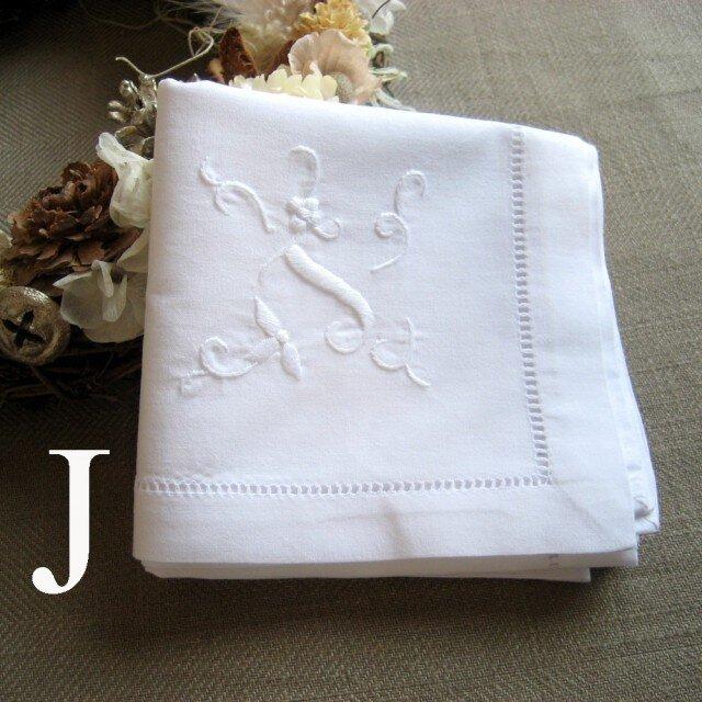 Aging手刺繍イニシャルハンカチ ホワイトJの画像1枚目