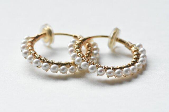 [EC] Freshwater pearl《M》Basic Hoop Ear Clipsの画像1枚目
