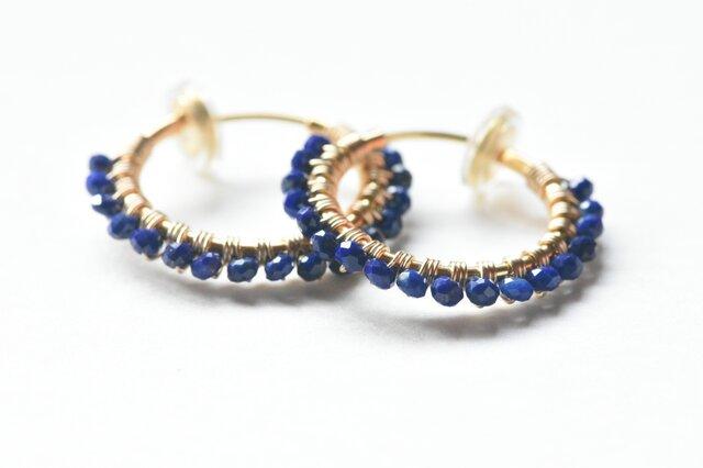 [EC] Lapis lazuli《M》Basic Hoop Ear Clipsの画像1枚目