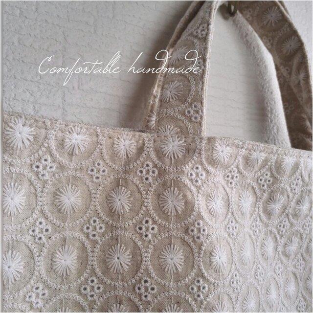 綿麻サークルレース刺繍トートバッグの画像1枚目