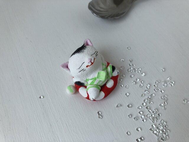 浮き輪猫さん(白黒)の画像1枚目