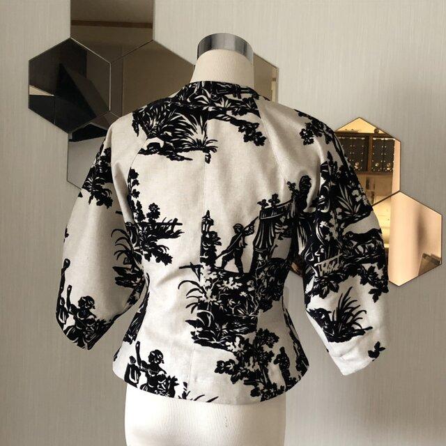 ツボミ膨らむお袖のジャケット joe   フランス製ビンテージリネン◆1点物◆ の画像1枚目