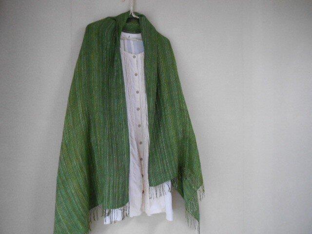 手紡ぎ・手織りのシルクショール グリーンの画像1枚目