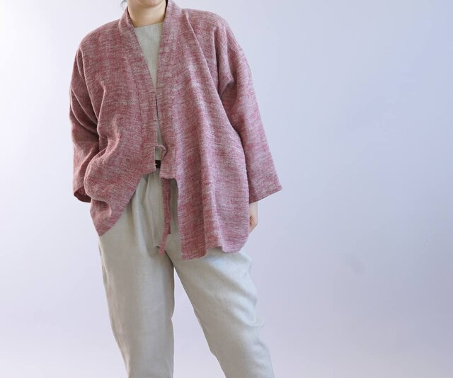 【wafu】厚地 起毛 リネン 作務衣 男女兼用 暖かい 羽織 和装  カーディガン/ 茜色 h037b-aki3の画像1枚目