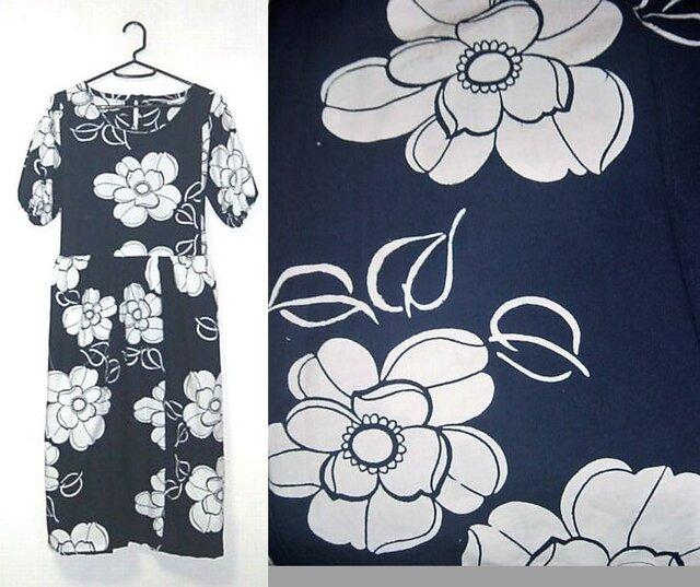 浴衣リメイク♪大きな花が素敵な浴衣ワンピース♪ハンドメイド♪の画像1枚目