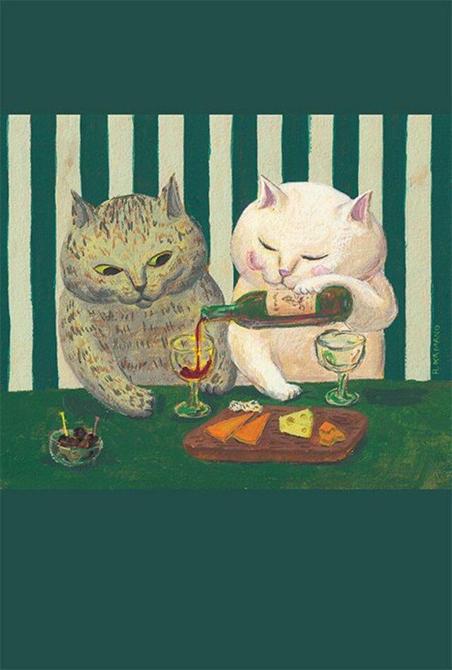 カマノレイコ オリジナル猫ポストカード「語らい」2枚セットの画像1枚目