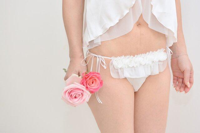 お花 シルク ショーツ オフホワイト Wedding Princess ふんどしパンツ (M size)の画像1枚目