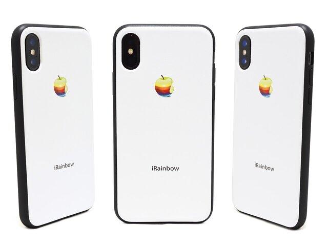 《3D RAINBOW APPLE》 リアルな虹りんご iPhoneX / iPhone10 レザーケースフルカバーの画像1枚目
