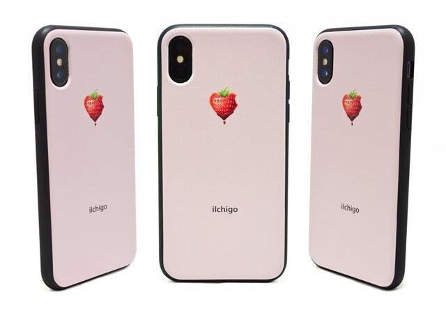 《iIchigo》チョコ いちご ハート  iPhoneX / iPhone10 レザーケースフルカバー(ピンク)の画像1枚目