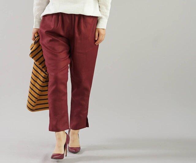 【wafu】中厚 リネン パンツ 裾スリット ジョッパーズ ウエストゴム ベルトループ ポケット/アガット b001e-agt2の画像1枚目