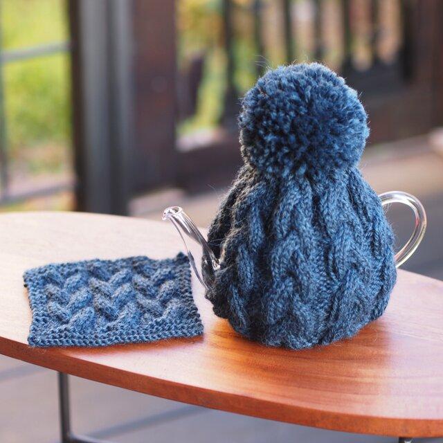【編み物キット】ポットカバー&マット<ブルー・ブルーベリー>の画像1枚目